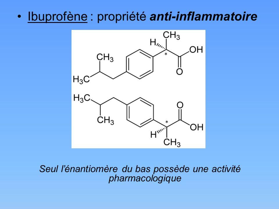 Ibuprofène : propriété anti-inflammatoire Seul lénantiomère du bas possède une activité pharmacologique * *