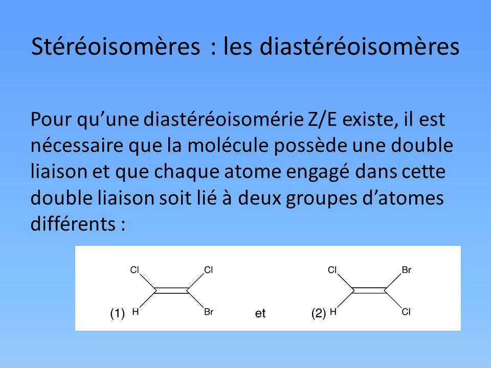 Stéréoisomères : les diastéréoisomères Pour quune diastéréoisomérie Z/E existe, il est nécessaire que la molécule possède une double liaison et que ch