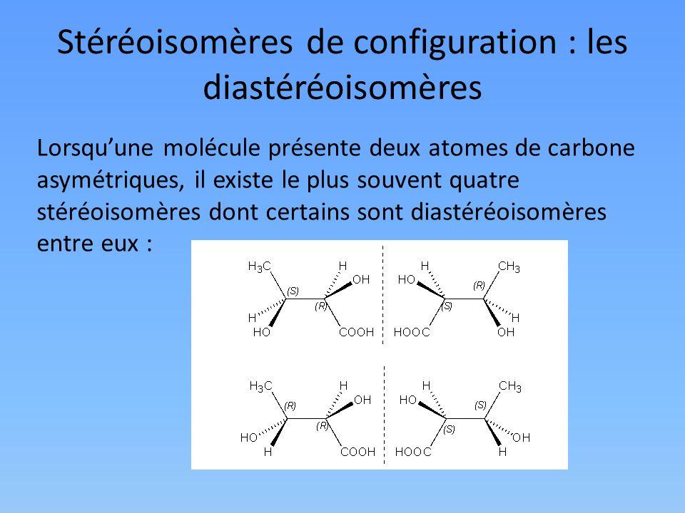 Stéréoisomères de configuration : les diastéréoisomères Lorsquune molécule présente deux atomes de carbone asymétriques, il existe le plus souvent qua
