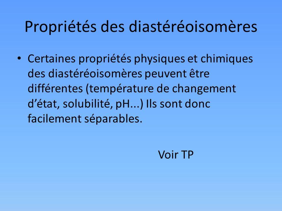Propriétés des diastéréoisomères Certaines propriétés physiques et chimiques des diastéréoisomères peuvent être différentes (température de changement