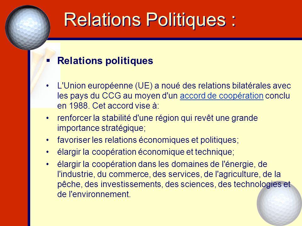 Relations Politiques : Relations politiques L'Union européenne (UE) a noué des relations bilatérales avec les pays du CCG au moyen d'un accord de coop