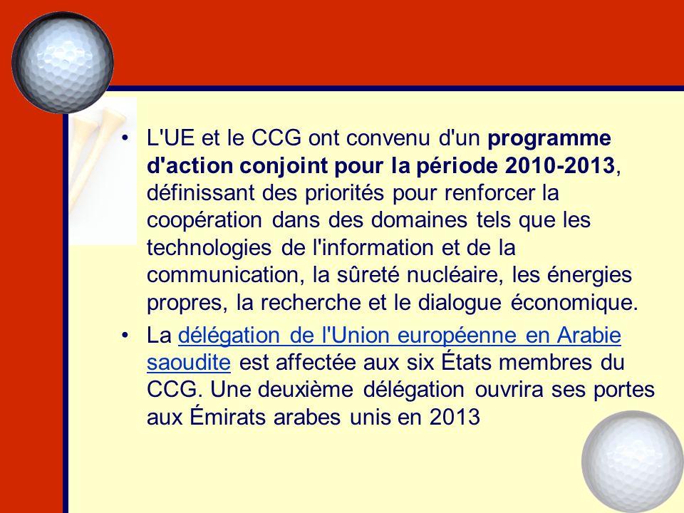 L'UE et le CCG ont convenu d'un programme d'action conjoint pour la période 2010-2013, définissant des priorités pour renforcer la coopération dans de
