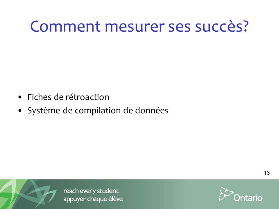 Comment mesurer ses succès? Fiches de rétroaction Système de compilation de données 13