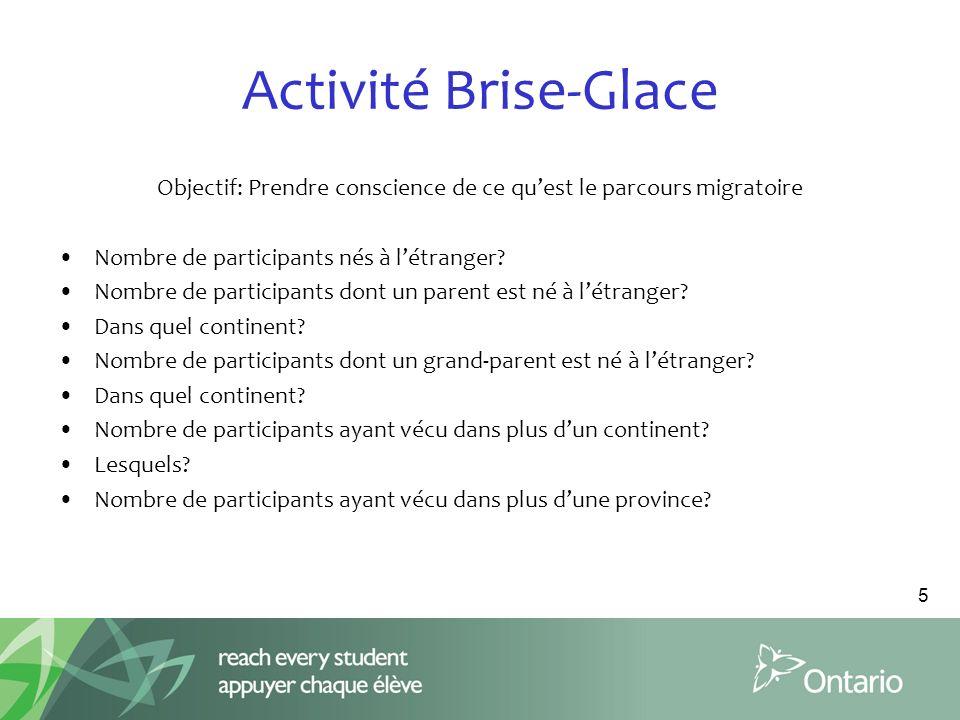 Activité Brise-Glace Objectif: Prendre conscience de ce quest le parcours migratoire Nombre de participants nés à létranger.