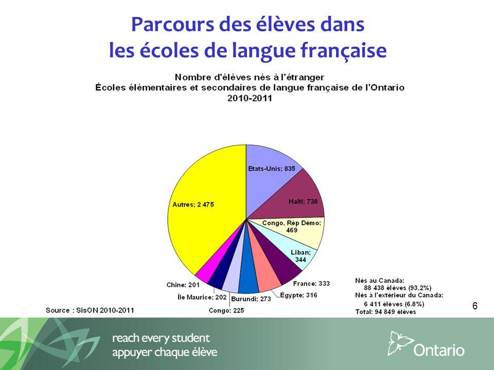 Parcours des élèves dans les écoles de langue française 6