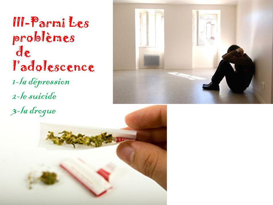 III-Parmi Les problèmes de ladolescence 1-la dépression 2-le suicide 3-la drogue