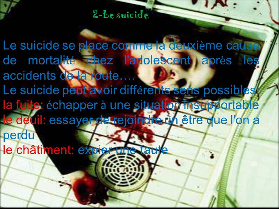 Le suicide se place comme la deuxi è me cause de mortalit é chez l'adolescent apr è s les accidents de la route…. Le suicide peut avoir diff é rents s