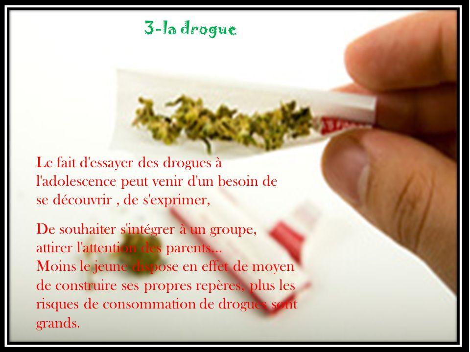 Le fait d'essayer des drogues à l'adolescence peut venir d'un besoin de se découvrir, de s'exprimer, 3-la drogue De souhaiter s'intégrer à un groupe,