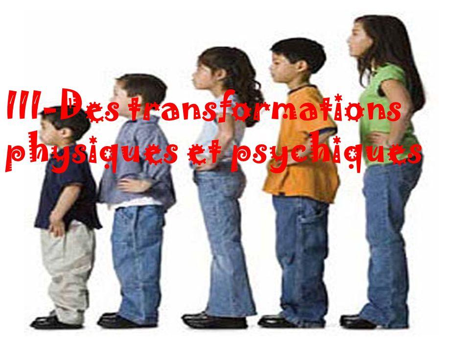 III-Des transformations physiques et psychiques