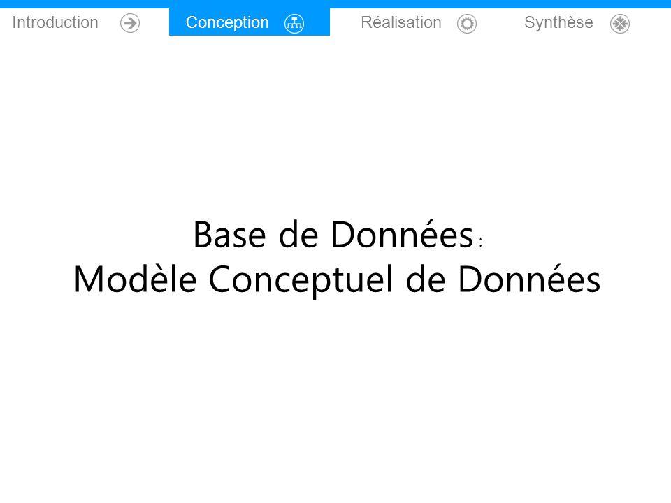 Conception Réalisation Synthèse Base de Données : Modèle Conceptuel de Données
