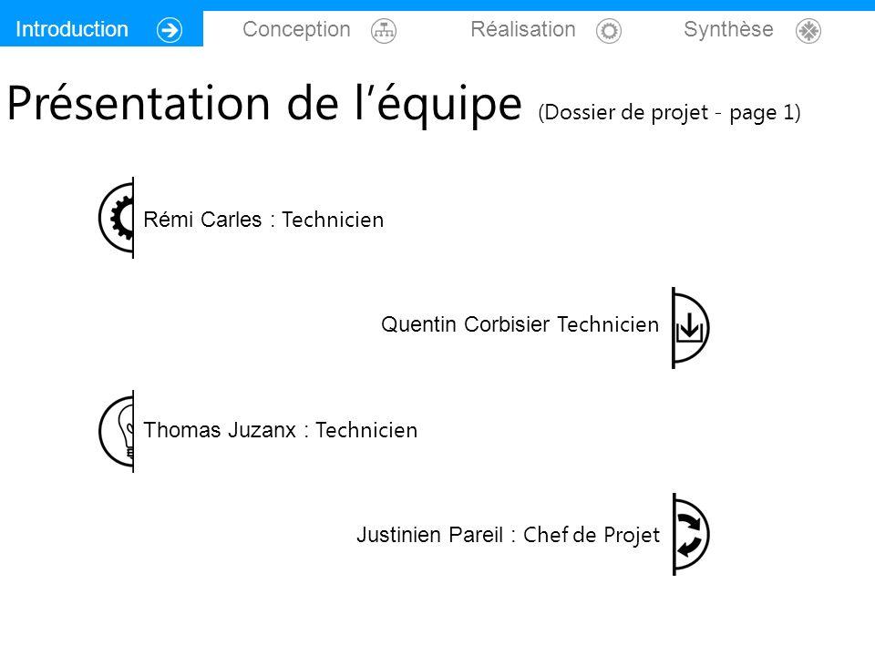 Introduction Conception Réalisation Synthèse Rémi Carles : Technicien Quentin Corbisier Technicien Thomas Juzanx : Technicien Justinien Pareil : Chef