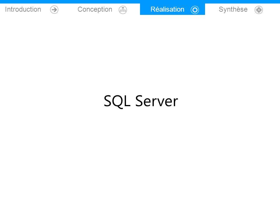 Introduction Conception Réalisation Synthèse SQL Server