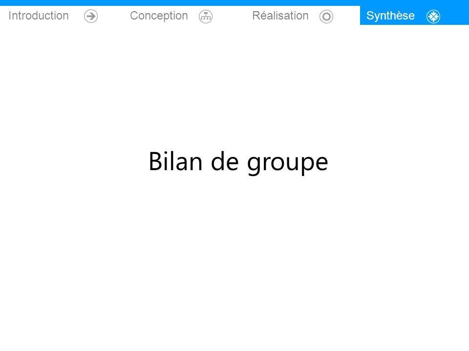 Introduction Conception Réalisation Bilan de groupe Synthèse