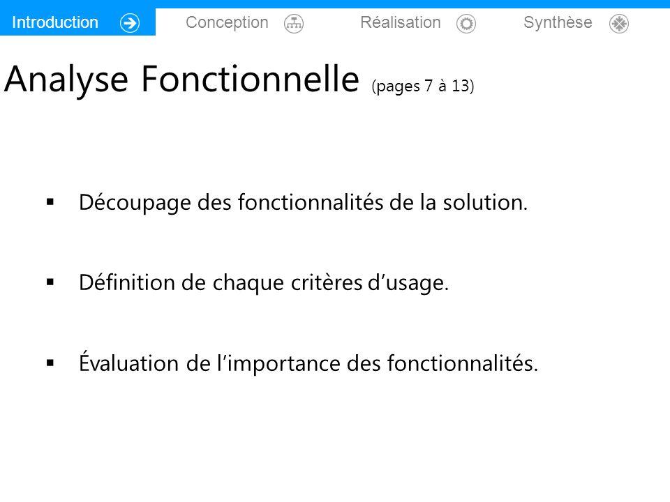 Introduction Conception Réalisation Synthèse Analyse Fonctionnelle (pages 7 à 13) Découpage des fonctionnalités de la solution. Définition de chaque c