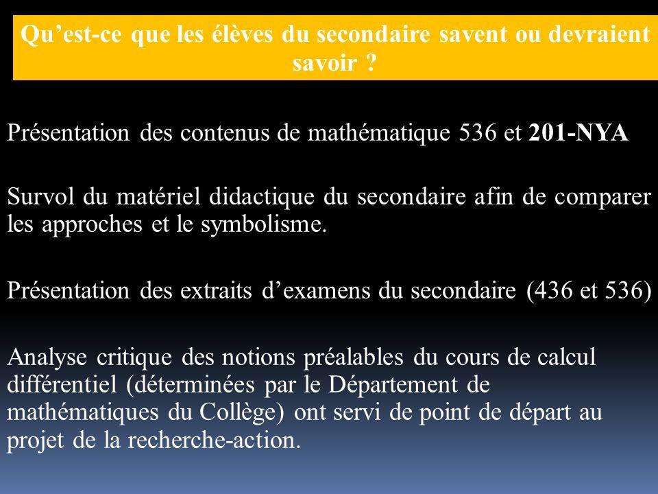 Portée des séquences dans les études post-secondaires (États des prévisions) DES+: 514 ou 426 DES (2010): 4e sec.
