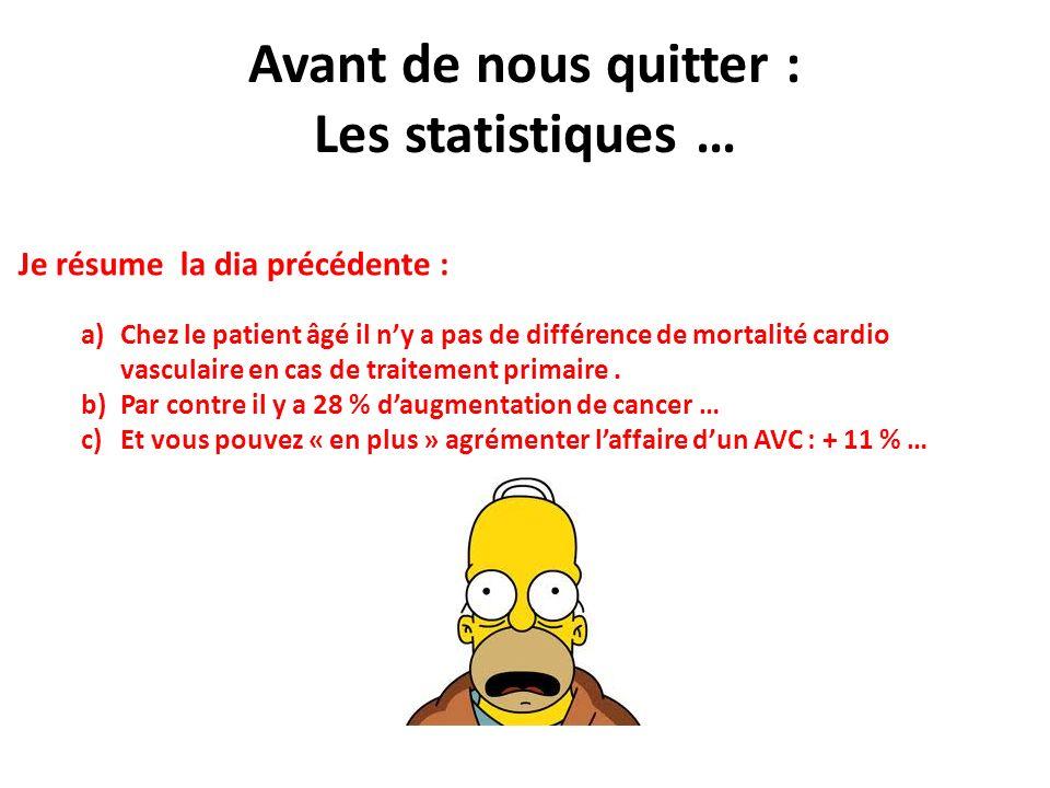 Avant de nous quitter : Les statistiques … Je résume la dia précédente : a)Chez le patient âgé il ny a pas de différence de mortalité cardio vasculair