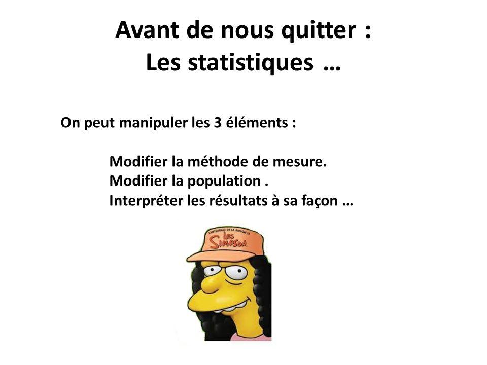 Avant de nous quitter : Les statistiques … On peut manipuler les 3 éléments : Modifier la méthode de mesure. Modifier la population. Interpréter les r