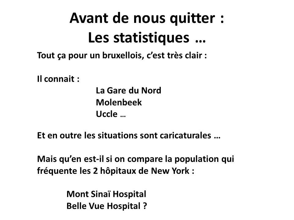 Avant de nous quitter : Les statistiques … Tout ça pour un bruxellois, cest très clair : Il connait : La Gare du Nord Molenbeek Uccle … Et en outre le