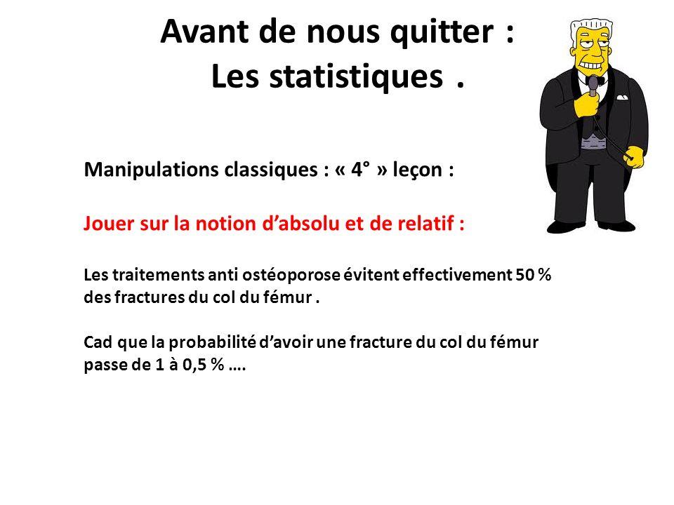 Avant de nous quitter : Les statistiques. Manipulations classiques : « 4° » leçon : Jouer sur la notion dabsolu et de relatif : Les traitements anti o