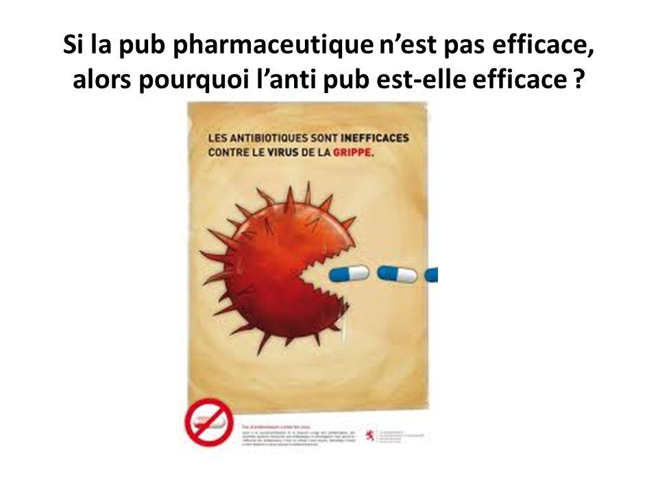 Si la pub pharmaceutique nest pas efficace, alors pourquoi lanti pub est-elle efficace ?