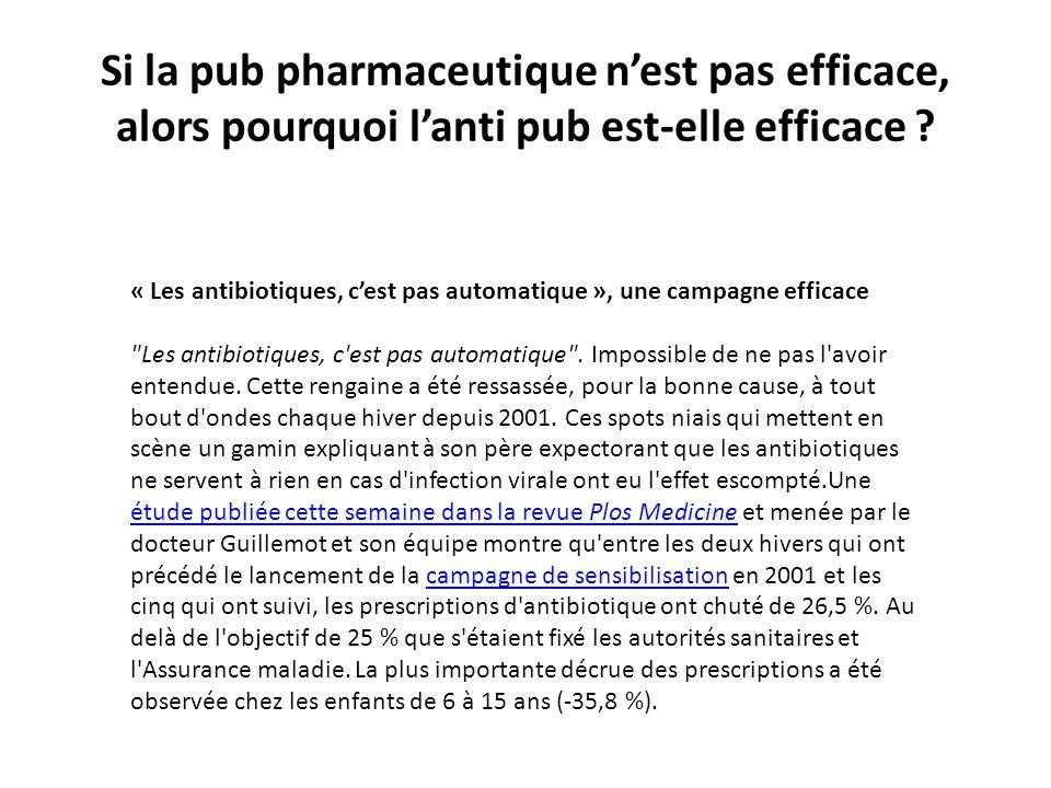 Si la pub pharmaceutique nest pas efficace, alors pourquoi lanti pub est-elle efficace ? « Les antibiotiques, cest pas automatique », une campagne eff
