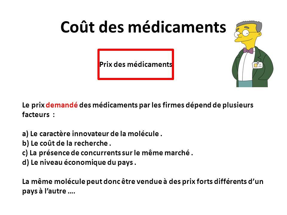 Coût des médicaments Prix des médicaments Le prix demandé des médicaments par les firmes dépend de plusieurs facteurs : a) Le caractère innovateur de