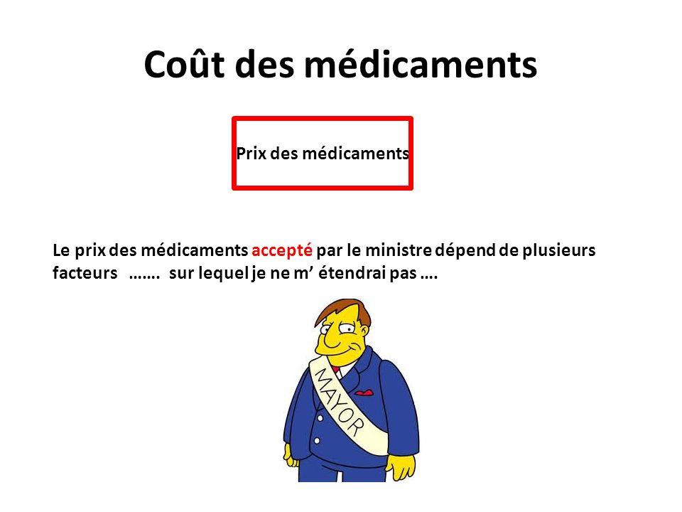 Coût des médicaments Prix des médicaments Le prix des médicaments accepté par le ministre dépend de plusieurs facteurs ……. sur lequel je ne m étendrai