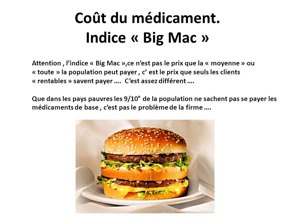Coût du médicament. Indice « Big Mac » Attention, lindice « Big Mac »,ce nest pas le prix que la « moyenne » ou « toute » la population peut payer, c