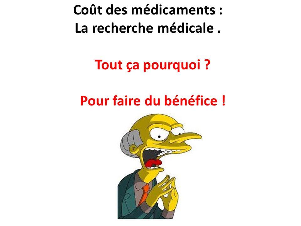 Coût des médicaments : La recherche médicale. Tout ça pourquoi ? Pour faire du bénéfice !