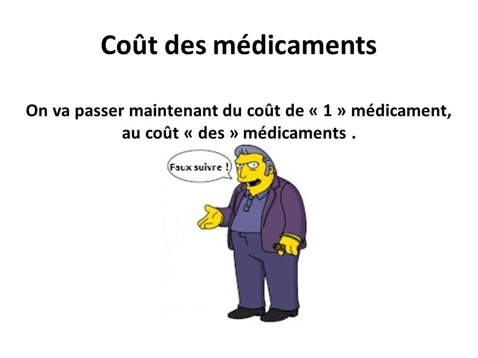 Coût des médicaments On va passer maintenant du coût de « 1 » médicament, au coût « des » médicaments. Faut suivre !