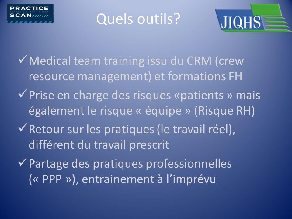 Quels outils? Medical team training issu du CRM (crew resource management) et formations FH Prise en charge des risques «patients » mais également le