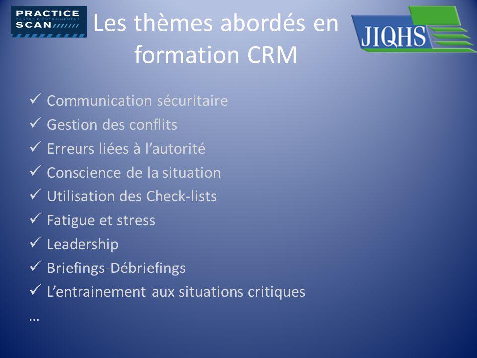 Les thèmes abordés en formation CRM Communication sécuritaire Gestion des conflits Erreurs liées à lautorité Conscience de la situation Utilisation de