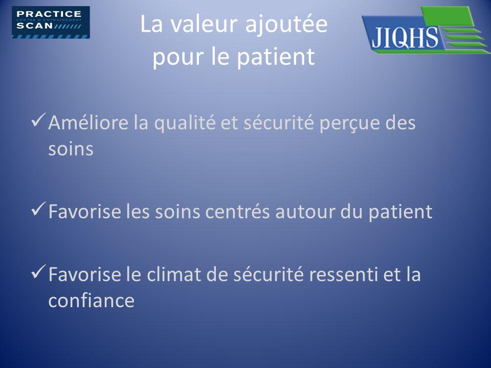 La valeur ajoutée pour le patient Améliore la qualité et sécurité perçue des soins Favorise les soins centrés autour du patient Favorise le climat de