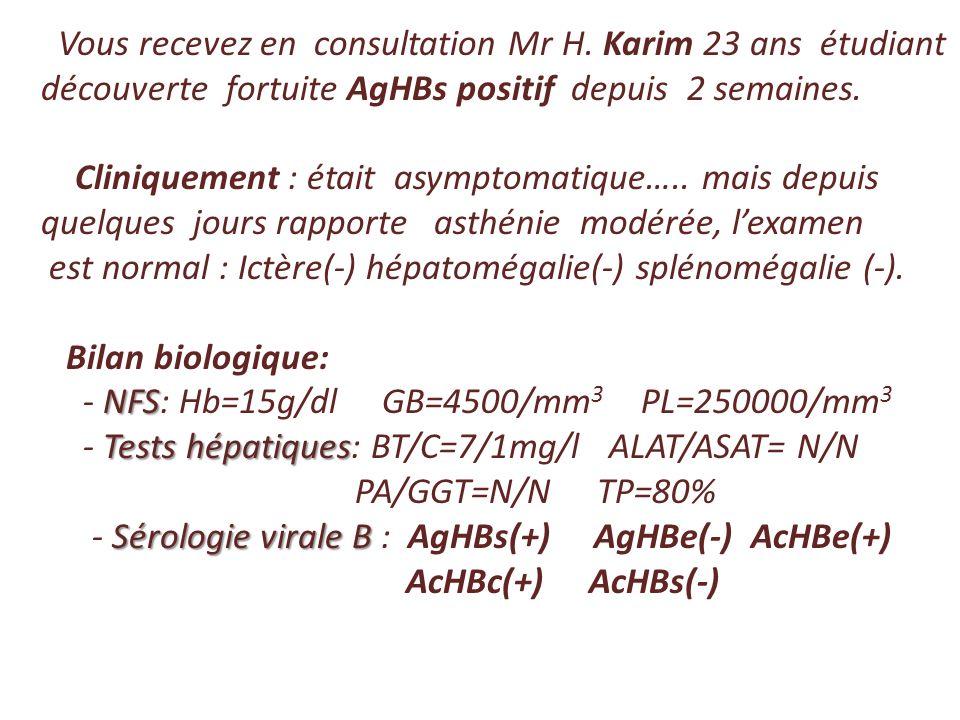Vous recevez en consultation Mr H. Karim 23 ans étudiant découverte fortuite AgHBs positif depuis 2 semaines. Cliniquement : était asymptomatique….. m
