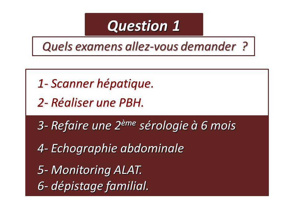 Question 1 Quels examens allez-vous demander ? Quels examens allez-vous demander ? 1- Scanner hépatique. 1- Scanner hépatique. 2- Réaliser une PBH. 2-