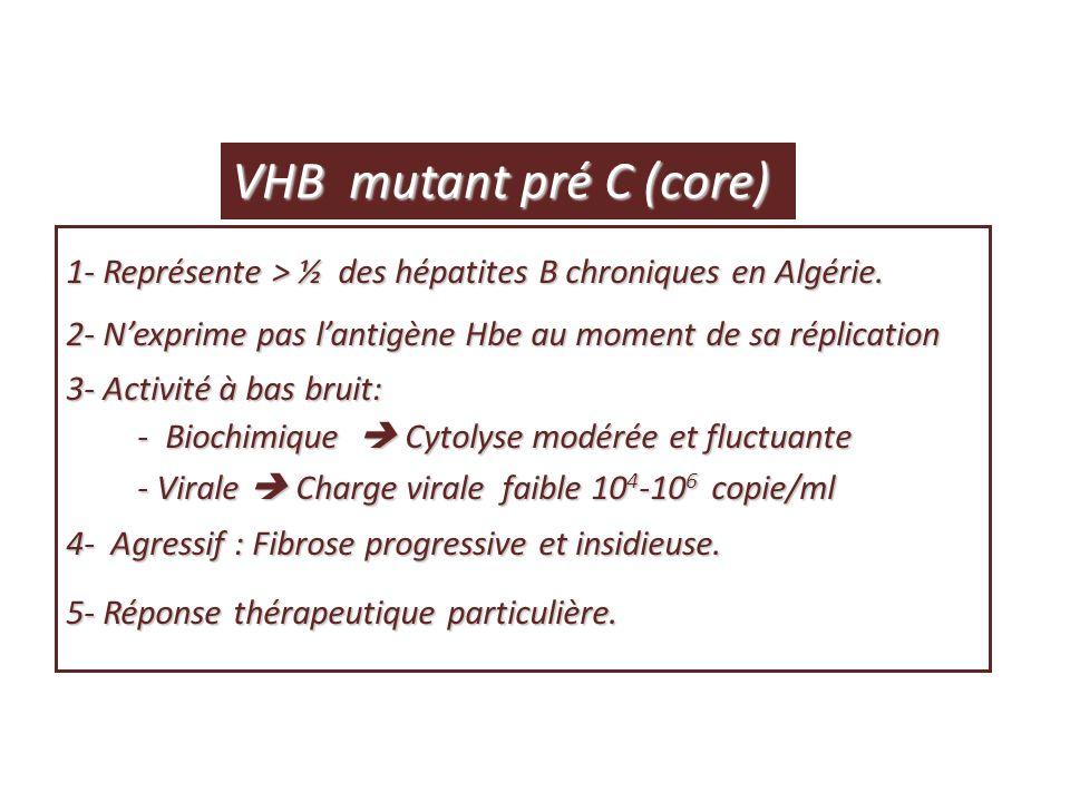 AgHBe AC anti-HBe ADN VHB ALAT ASAT Lésions histologiques histologiques Immunotolérance Immunotolérance Immunoélimination Immunoélimination Porteur inactif AgHBe(+) AC anti-HBe(-) AgHBe(+) AC anti-HBe(+) AgHBe(-) (-) (-)(+) Cycle dévolution du portage chronique du VHB