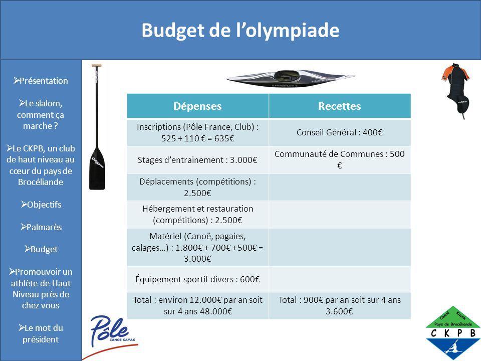 Présentation Budget de lolympiade Présentation Le slalom, comment ça marche ? Le CKPB, un club de haut niveau au cœur du pays de Brocéliande Objectifs