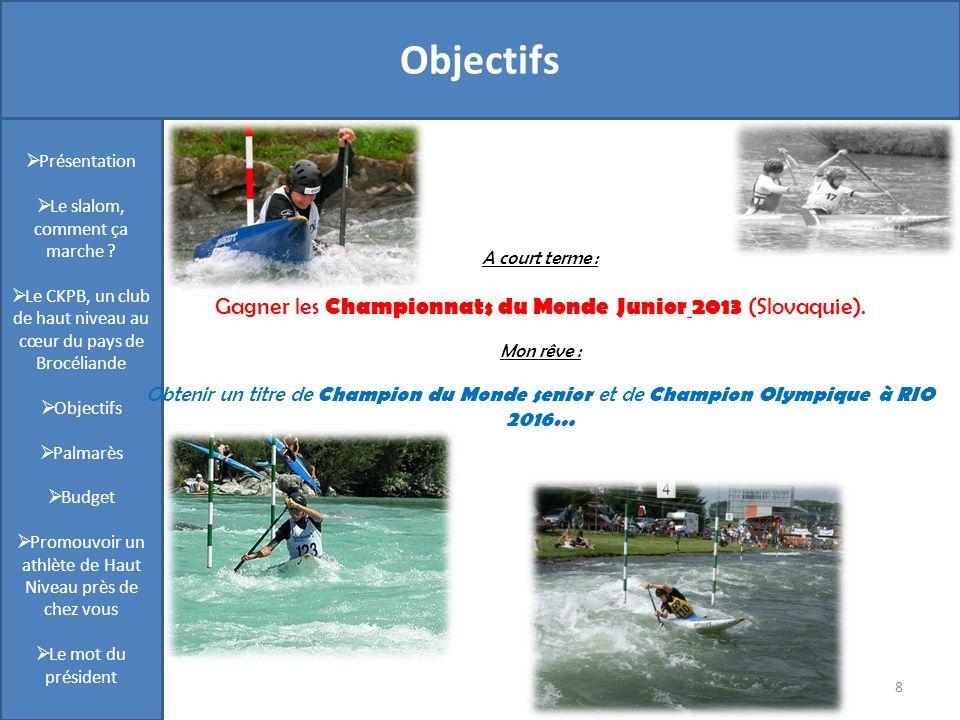 Présentation 8 Objectifs Présentation Le slalom, comment ça marche ? Le CKPB, un club de haut niveau au cœur du pays de Brocéliande Objectifs Palmarès
