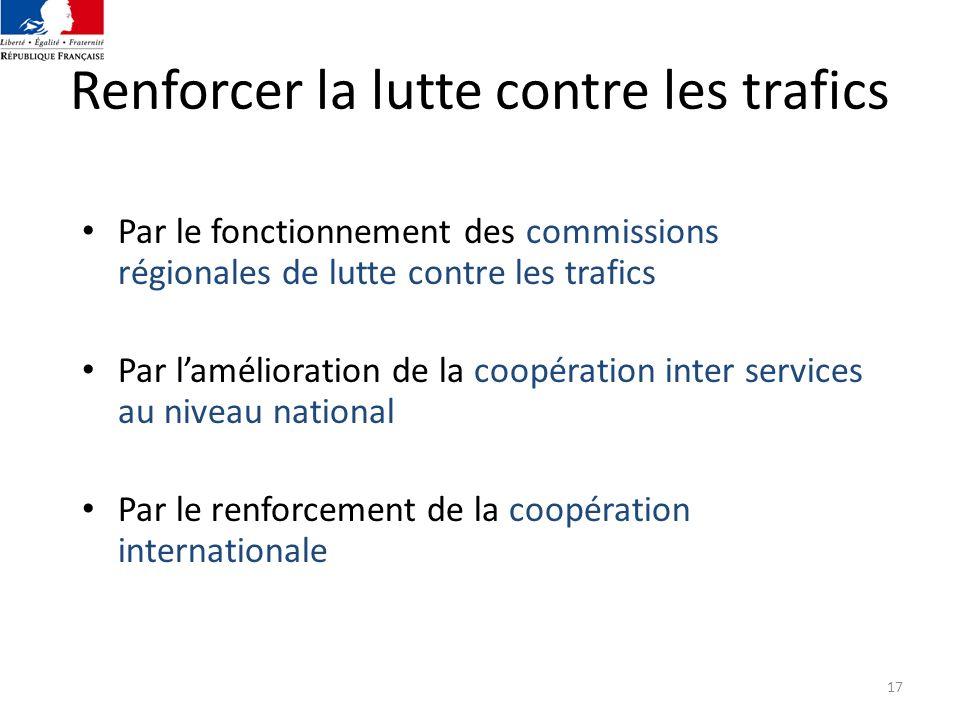 17 Renforcer la lutte contre les trafics Par le fonctionnement des commissions régionales de lutte contre les trafics Par lamélioration de la coopérat