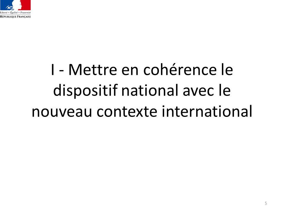 5 I - Mettre en cohérence le dispositif national avec le nouveau contexte international