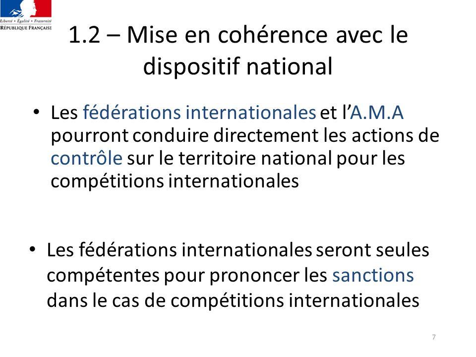 7 1.2 – Mise en cohérence avec le dispositif national Les fédérations internationales et lA.M.A pourront conduire directement les actions de contrôle