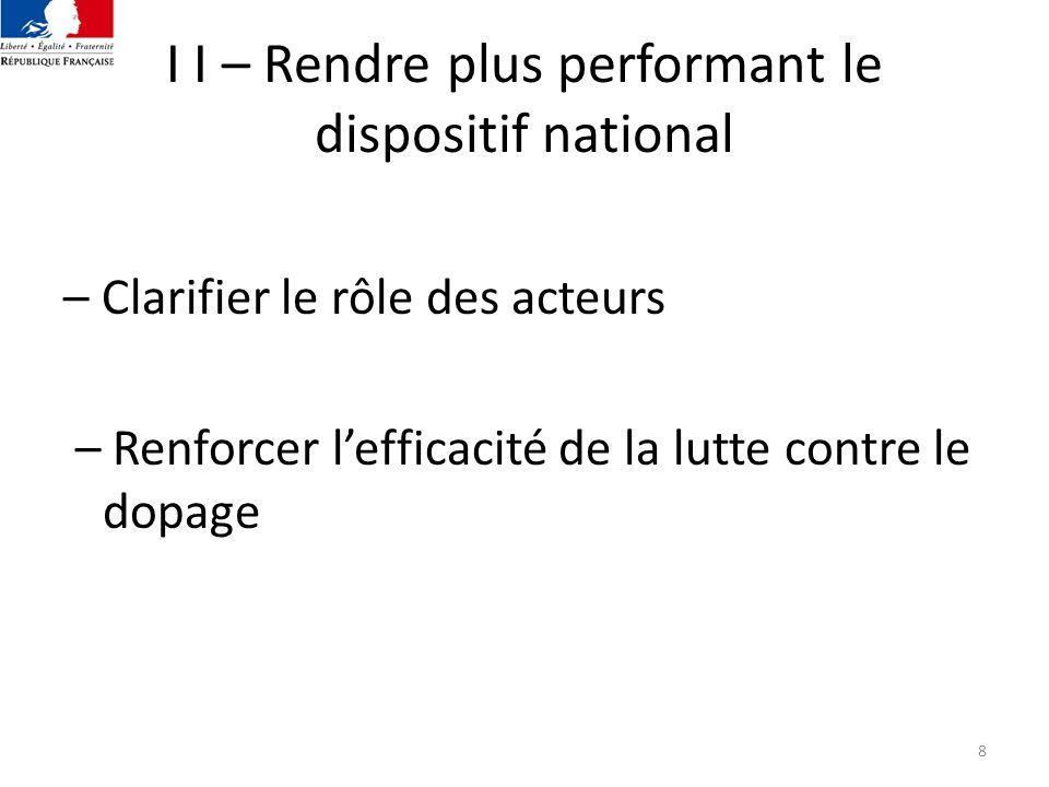 9 2.1 - Clarifier les compétences des acteurs nationaux Pour remédier à la complexité actuelle Pour valoriser la qualité de la lutte contre le dopage assuré par les compétences et lexpérience de tous les acteurs nationaux