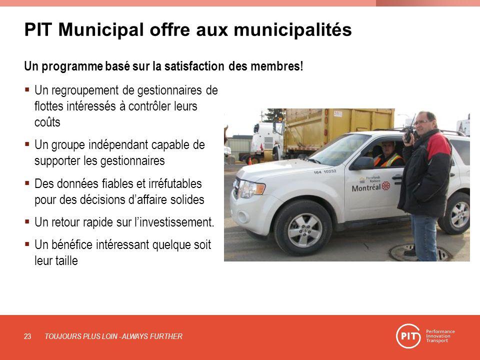 PIT Municipal offre aux municipalités Un programme basé sur la satisfaction des membres! Un regroupement de gestionnaires de flottes intéressés à cont