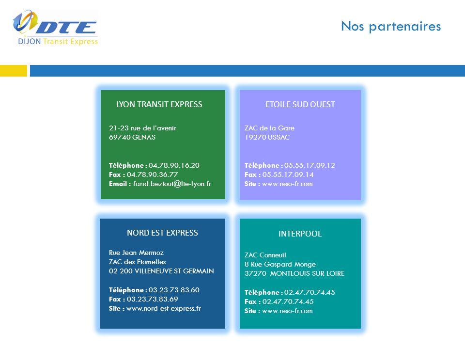 Nos partenaires LYON TRANSIT EXPRESS 21-23 rue de lavenir 69740 GENAS Téléphone : 04.78.90.16.20 Fax : 04.78.90.36.77 Email : farid.beztout@lte-lyon.f