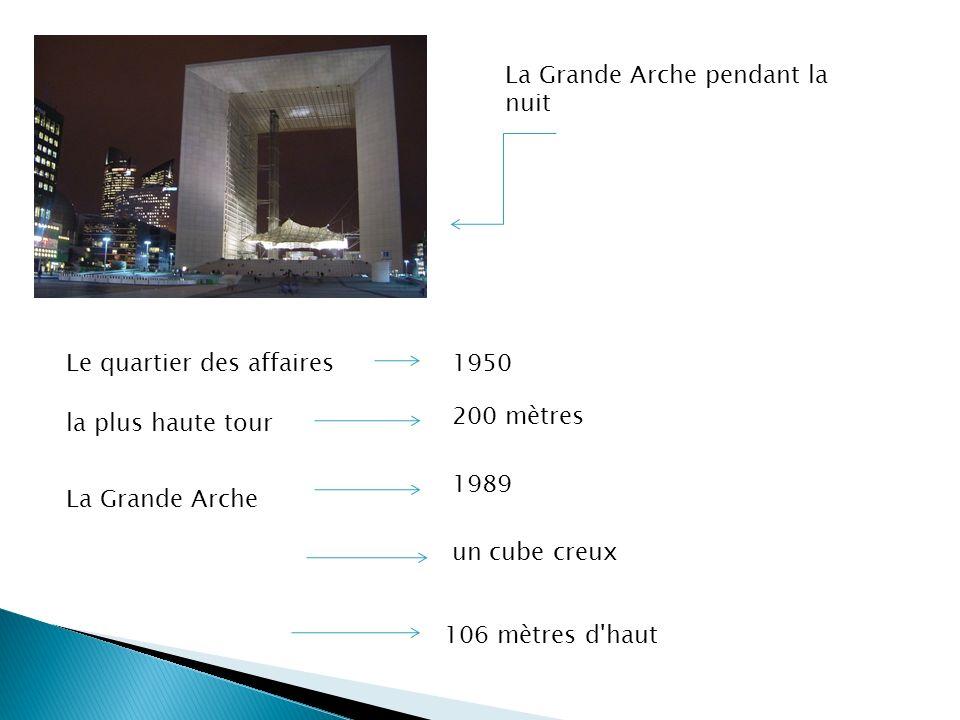 La Grande Arche pendant la nuit Le quartier des affaires1950 la plus haute tour 200 mètres La Grande Arche 1989 un cube creux 106 mètres d'haut