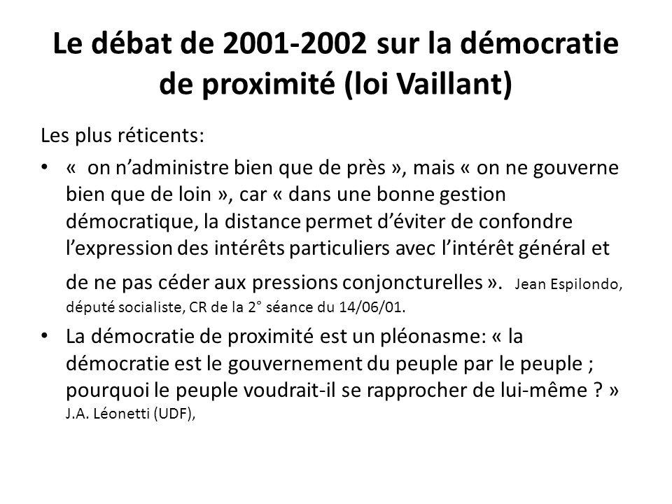 Le débat de 2001-2002 sur la démocratie de proximité (loi Vaillant) Les plus réticents: « on nadministre bien que de près », mais « on ne gouverne bie