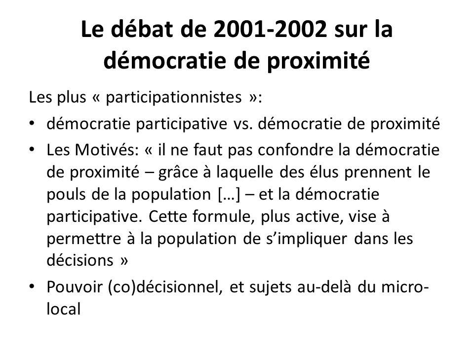 Le débat de 2001-2002 sur la démocratie de proximité Les plus « participationnistes »: démocratie participative vs. démocratie de proximité Les Motivé