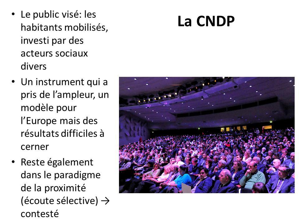 La CNDP Le public visé: les habitants mobilisés, investi par des acteurs sociaux divers Un instrument qui a pris de lampleur, un modèle pour lEurope m