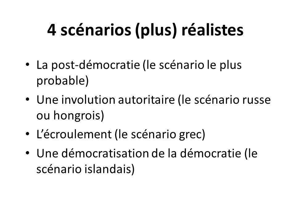 4 scénarios (plus) réalistes La post-démocratie (le scénario le plus probable) Une involution autoritaire (le scénario russe ou hongrois) Lécroulement
