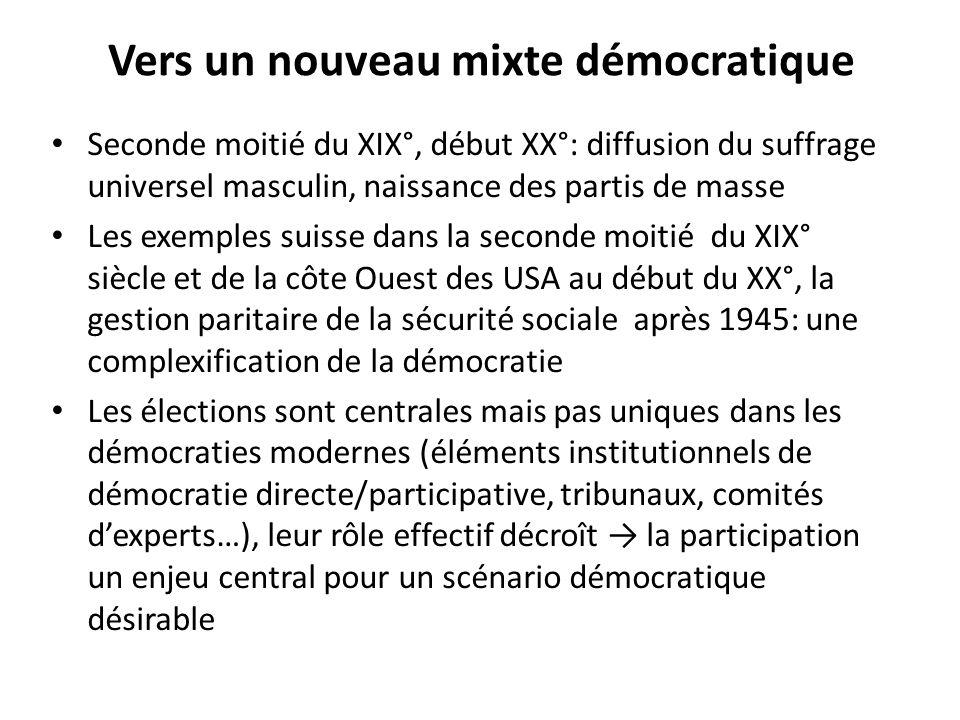 Vers un nouveau mixte démocratique Seconde moitié du XIX°, début XX°: diffusion du suffrage universel masculin, naissance des partis de masse Les exem